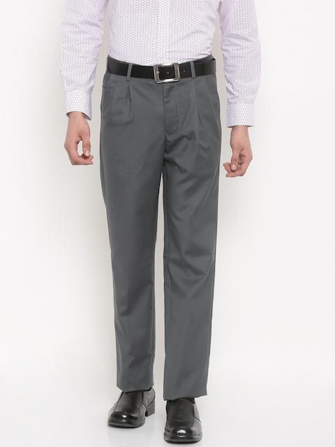 Allen Solly Men Grey Regular Fit Solid Formal Trousers