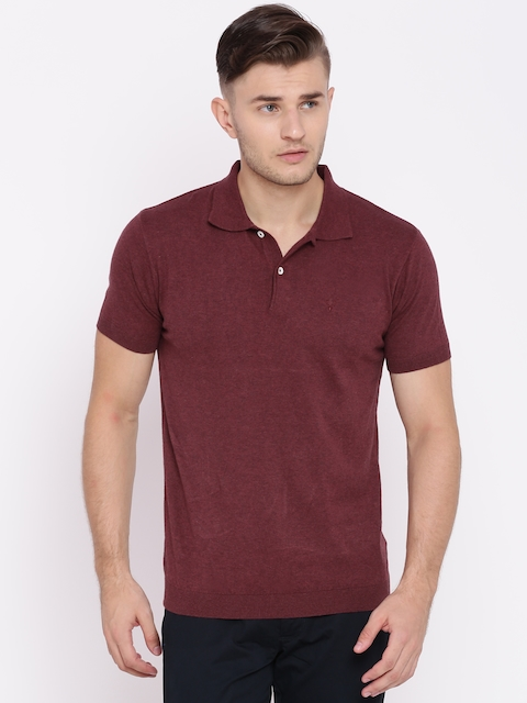 Allen Solly Men Maroon Solid Polo T-Shirt