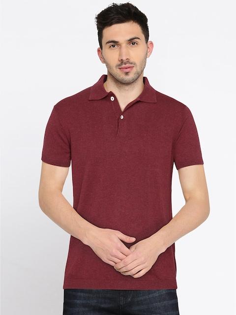 Allen Solly Men Maroon Solid Polo T-Shirt