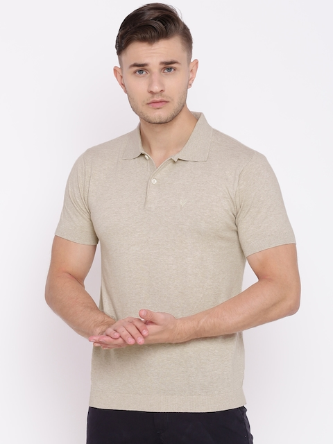 Allen Solly Men Beige Solid Polo Collar T-shirt