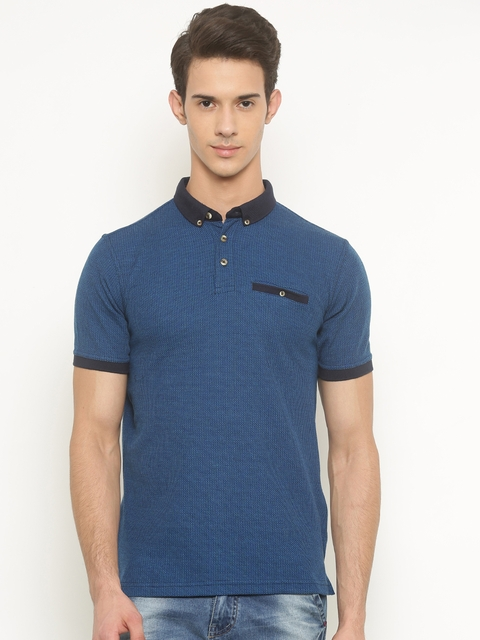 Peter England Men Blue Self Design Polo Collar T-shirt