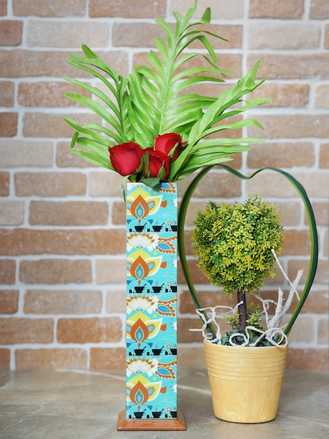 RANGRAGE Turquoise Blue Rectangular Printed Handcrafted  Vase