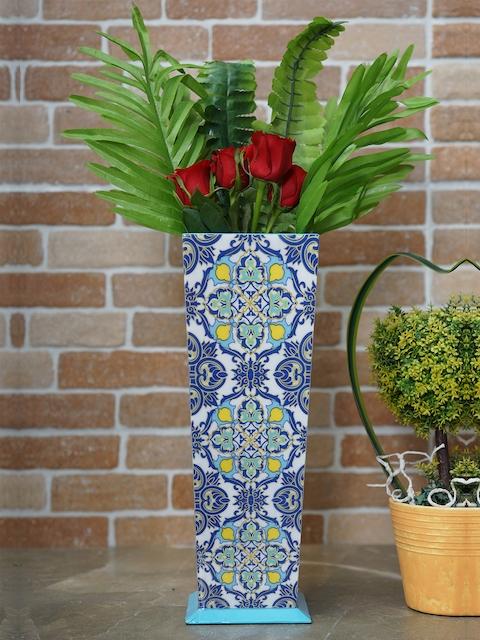 RANGRAGE Blue & White Printed Handcrafted Vase