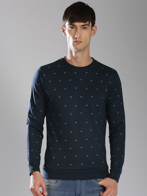 Bossini Men Navy Printed Sweatshirt