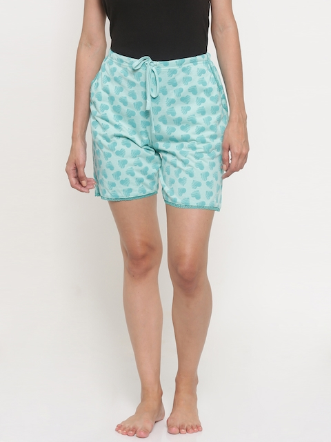 Kanvin Women Turquoise Blue Printed Lounge Shorts KSS493I