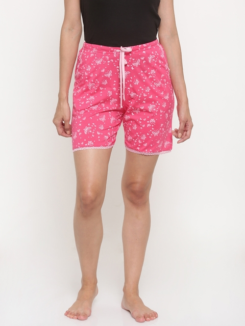 Kanvin Women Pink Printed Lounge Shorts KSS493J