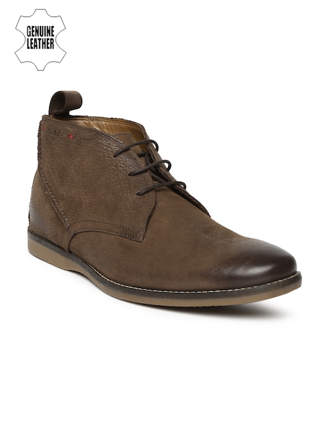 Ruosh Smart Casual Men Brown Solid Genuine Leather High-Top Flat Boots