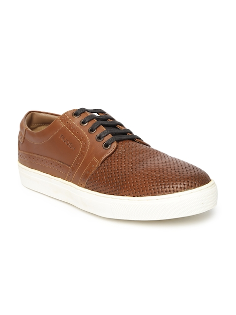 Ruosh Smart Casual Men Tan Brown Genuine Leather Textured Sneakers