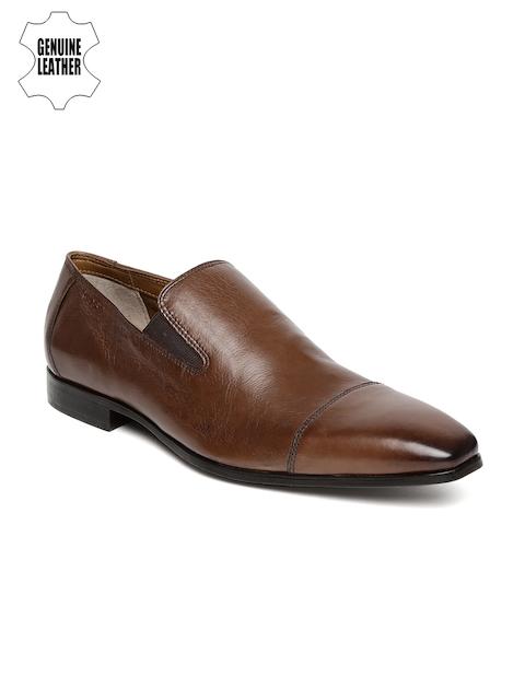 Ruosh Work Men Tan Brown Genuine Leather Semiformal Slip-Ons