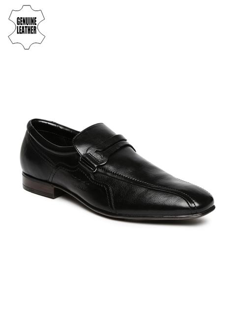 Ruosh Work Men Black Genuine Leather Semiformal Loafers