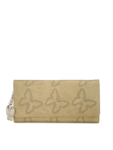 Butterflies Women Beige Patterned Twofold Wallet