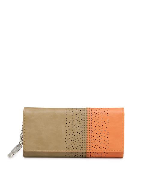 Butterflies Women Beige & Orange Colourblocked Twofold Wallet