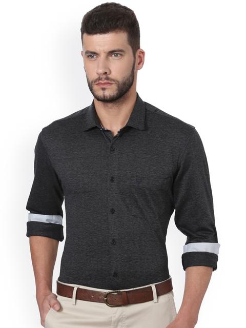 Allen Solly Men Black Regular Fit Self-Design Casual Shirt