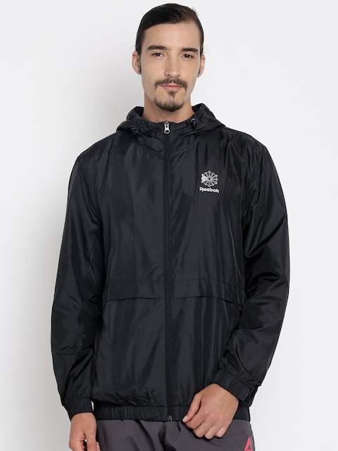 Reebok Classic Men Black Solid Windcheater Sporty Jacket