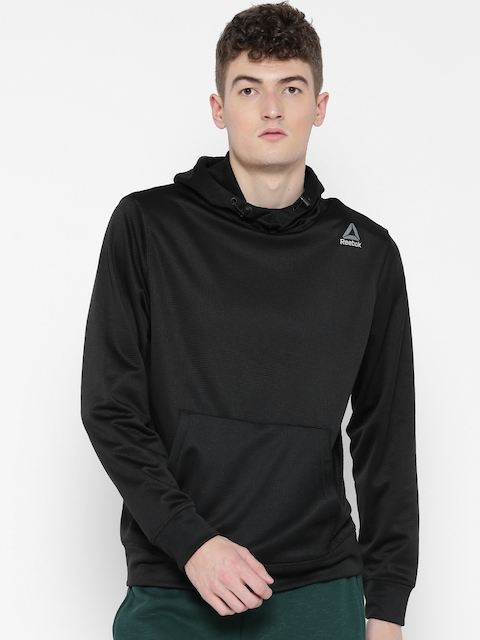 Reebok Men Black WOR ELITAGE OTH Solid Hooded Sweatshirt