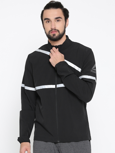 Reebok Men Black OSR HERO Reflective Strip Sporty Jacket