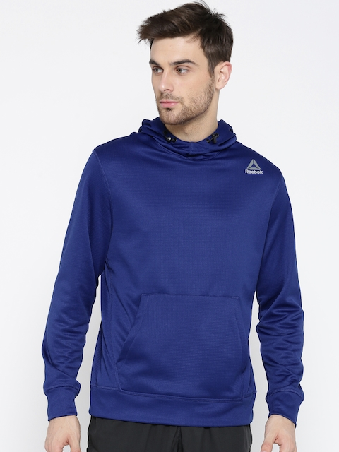 Reebok Men Blue WOR ELITAGE OTH Solid Hooded Sweatshirt