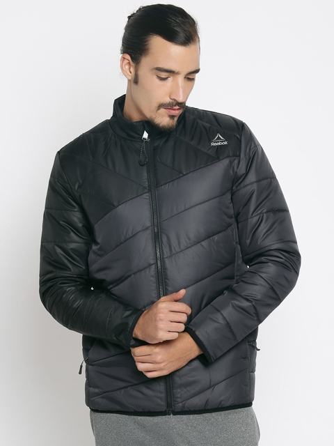 Reebok Men Black Solid Padded Jacket