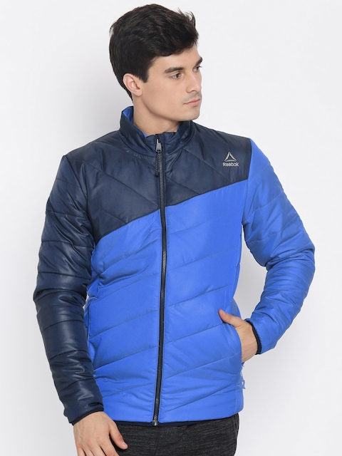 Reebok Men Blue Colourblocked Padded Jacket