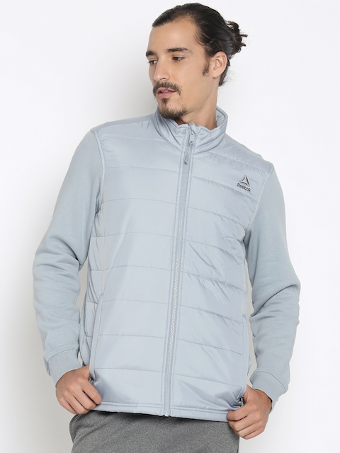 Reebok Men Grey Solid Padded Jacket