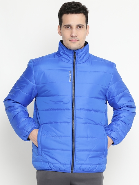 Reebok Men Blue MS CORE Solid Quilted Jacket