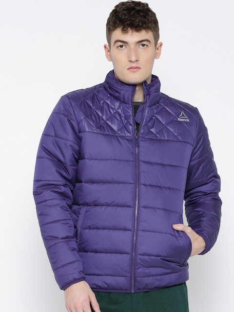 Reebok Men Blue Fitness Solid Quilted Jacket