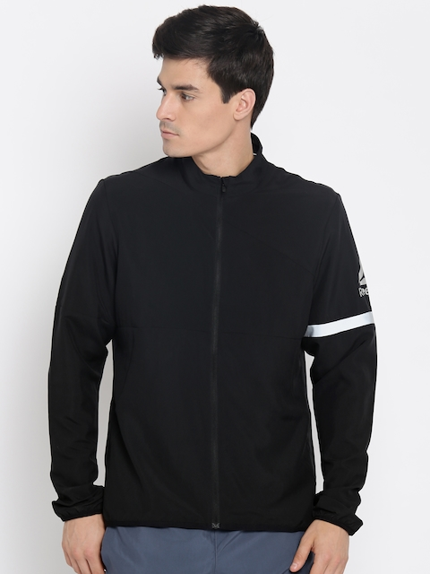 Reebok Men Black Solid Sporty Jacket