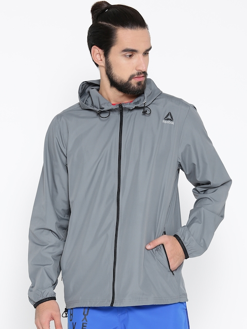 Reebok Men Grey Solid WOR WV Sporty Jacket