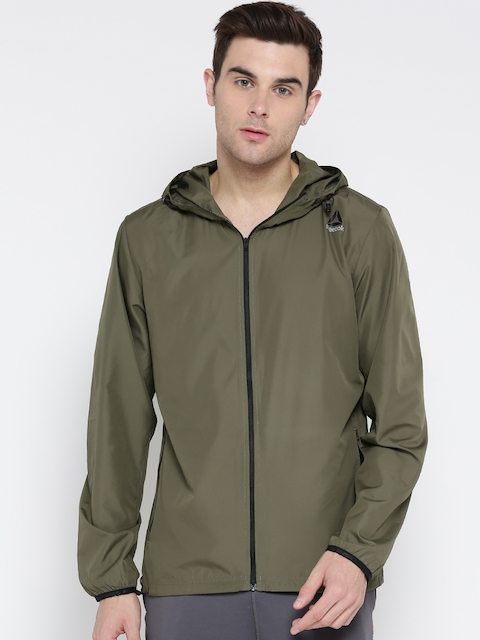 Reebok Men Olive Green WOR WV Solid Training Sporty Jacket