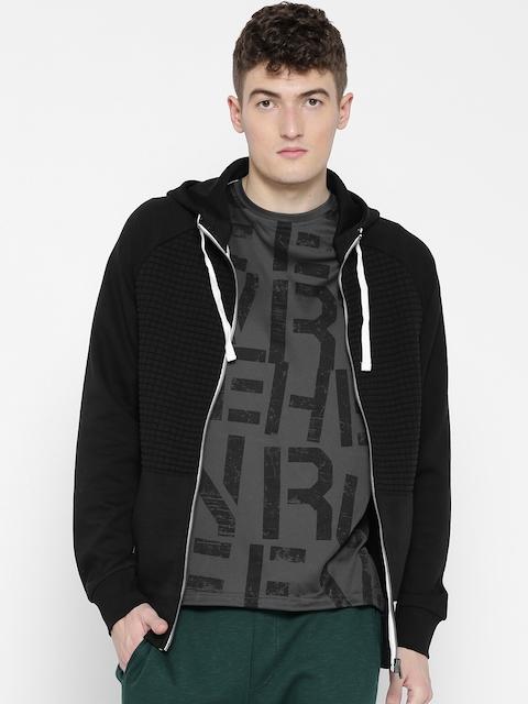 Reebok Men Black EL Quilted Full Zip Solid Hooded Sweatshirt