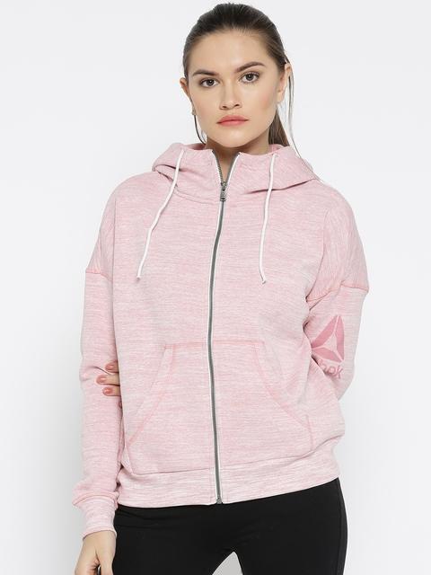 Reebok Women Pink EL Marble BB FZ Solid Hooded Sweatshirt