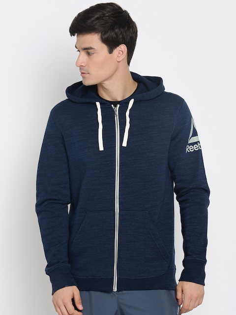 Reebok Men Blue Self Design Sporty Jacket