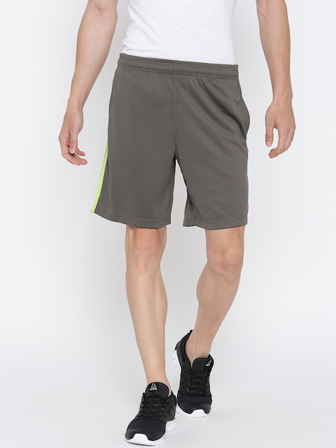 Reebok Men Taupe Core Poly Knit Solid Training Shorts  available at myntra for Rs.629