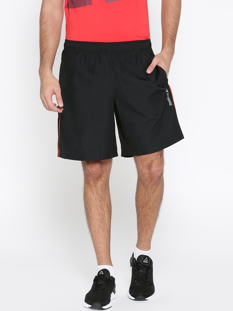 Reebok Men Black Solid CORE Woven Sports Shorts  available at myntra for Rs.599