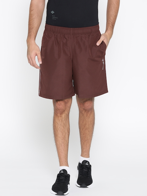 Reebok Men Burgundy Core Woven Solid Sports Shorts  available at myntra for Rs.699