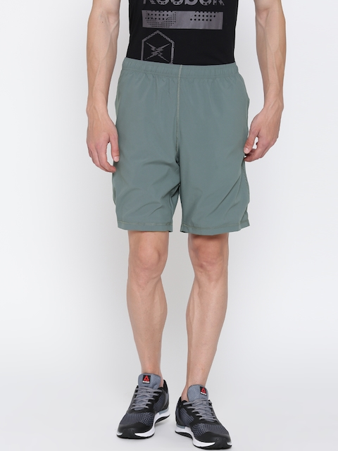 Reebok Men Grey EL SFT Poly Solid Training Shorts  available at myntra for Rs.549