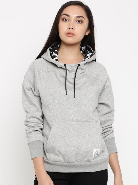 Reebok Women Grey Melange Solid WOR CS OTH Hooded Sweatshirt