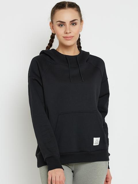 Reebok Women Black WOR CS OTH Solid Hooded Sweatshirt