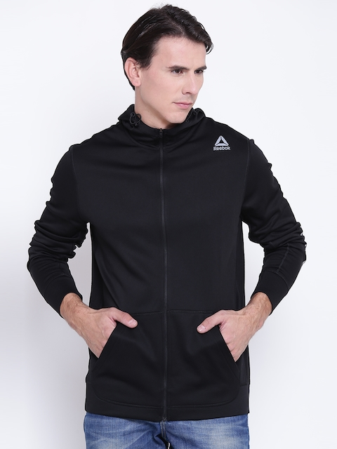 Reebok Men Black WOR POLY FLC FZ Graph Solid Hooded Sweatshirt