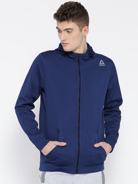 Reebok Men Blue WOR POLY FLC FZ GRAPH Solid Hooded Sweatshirt