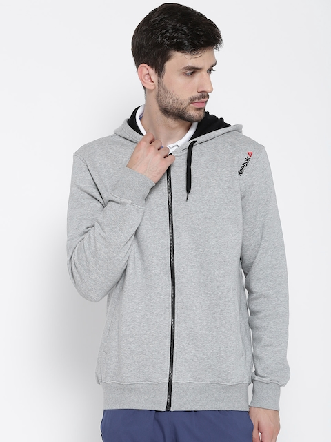 Reebok Men Grey Melange Core Solid Hooded Sweatshirt
