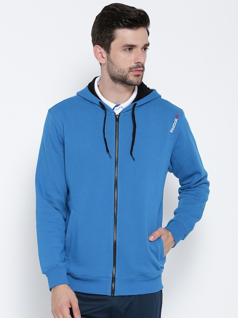 Reebok Men Blue Core Solid Hooded Sweatshirt