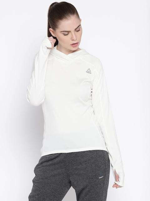 Reebok Women White Solid Hooded Sweatshirt
