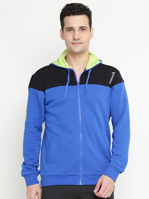 Reebok Men Blue & Black Colourblocked Hooded Athletic Sweatshirt