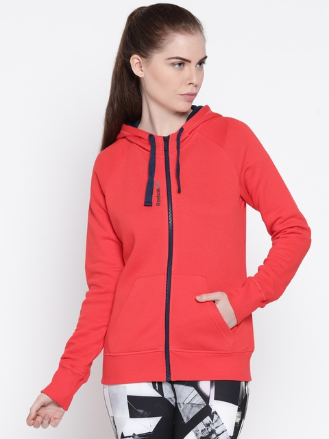 Reebok Women Red Solid Hooded Sweatshirt