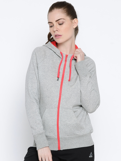 Reebok Women Grey Solid Hooded Sweatshirt