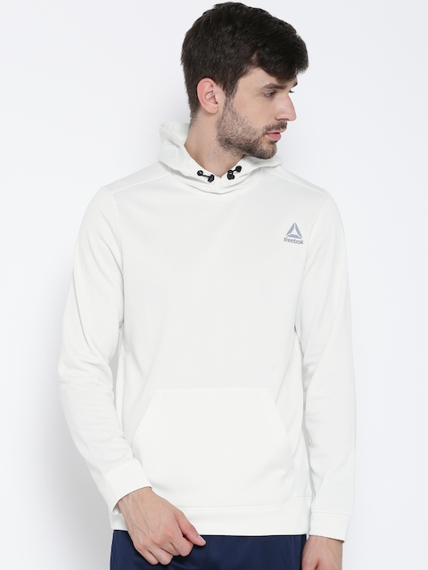 Reebok Men White WOR Poly Fleece Tech Solid Hooded Training Sweatshirt
