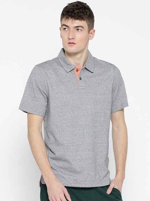Reebok Men Grey Melange MS CO Solid Polo Neck T-shirt  available at myntra for Rs.659