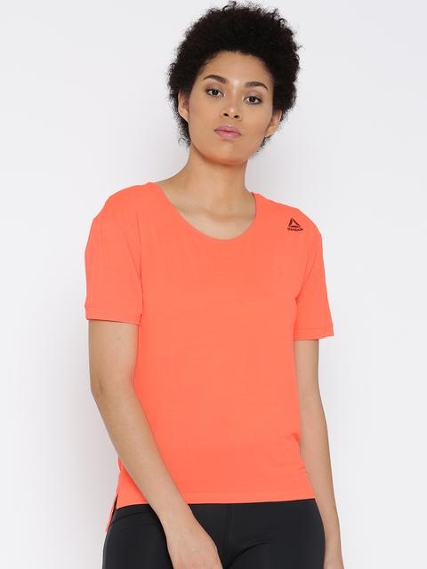 Reebok Women Orange WOR ACTIVCHILL Slub Round Neck T-shirt