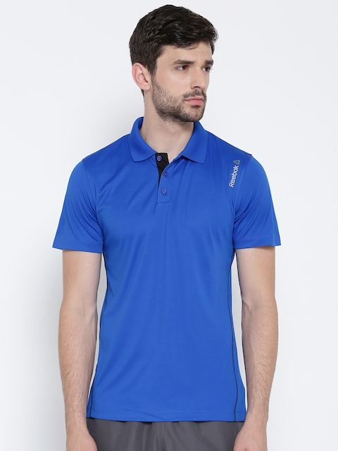 Reebok Men Blue Core Poly Polo Collar T-shirt  available at myntra for Rs.599